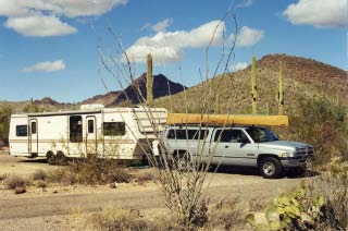 Our truck and trailer at Organ Pipe 